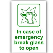 1 x In Case of Emergency Break Glass to Open-130x87mm-Self Adhesive Sticker-Health and Safety-Door